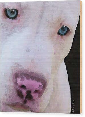 Pit Bull Art - Not A Fighter Wood Print by Sharon Cummings