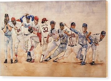 Pitching Windup  Wood Print by Michael  Pattison