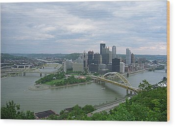 Pittsburgh - View Of The Three Rivers Wood Print by Frank Romeo
