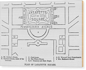 Plan Of Lafayette Square Wood Print by Granger