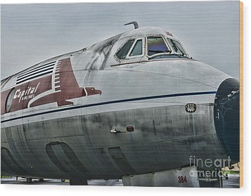 Plane Capital Airlines Wood Print by Paul Ward