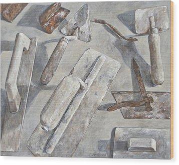 Plasterer Tools 2 Wood Print by Anke Classen