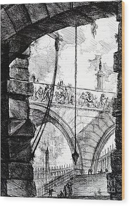 Plate 4 From The Carceri Series Wood Print by Giovanni Battista Piranesi