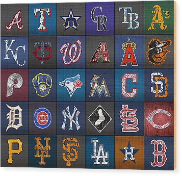 Play Ball Recycled Vintage Baseball Team Logo License Plate Art Wood Print by Design Turnpike