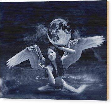 playing with the Moon Wood Print by Mayumi  Yoshimaru