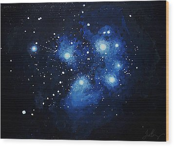 Pleiades The Seven Sisters Wood Print by Timothy Benz