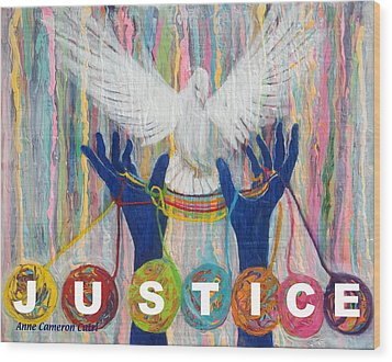 Pms 20 Justice Wood Print by Anne Cameron Cutri