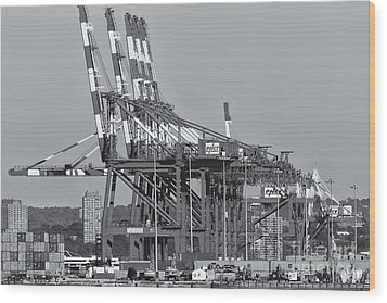 Pnct Facility In Port Newark-elizabeth Marine Terminal II Wood Print by Clarence Holmes