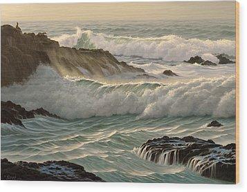 Point Lobos Seascape    Wood Print by Paul Krapf