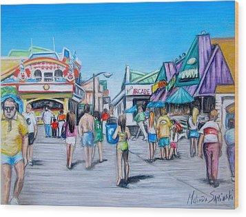 Point Pleasant Beach Boardwalk Wood Print by Melinda Saminski