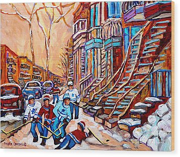 Pointe St.charles Hockey Game Near Winding Staircases Montreal Winter City Scenes Wood Print by Carole Spandau