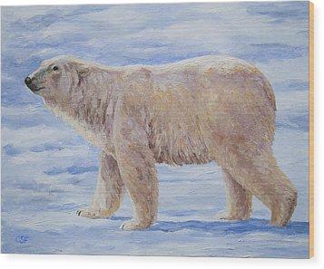 Polar Bear Mini Painting Wood Print by Crista Forest