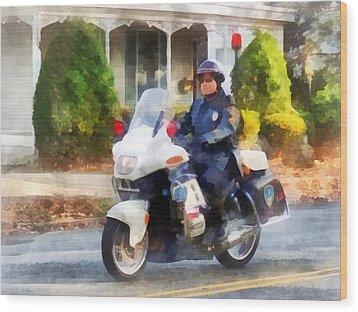Police - Suburban Motorcycle Cop Wood Print by Susan Savad