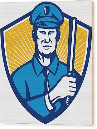 Policeman Police Officer Baton Shield Retro Wood Print by Aloysius Patrimonio
