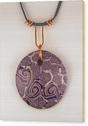 Polymer Clay Pendant Mc04211205 Wood Print by P Russell