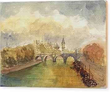 Ponte Neuf Paris Wood Print by Juan  Bosco