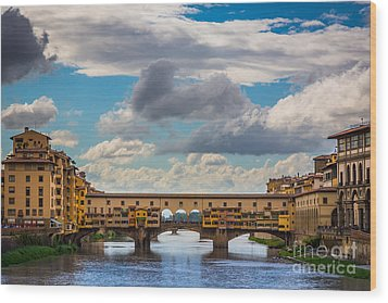 Ponte Vecchio Clouds Wood Print by Inge Johnsson