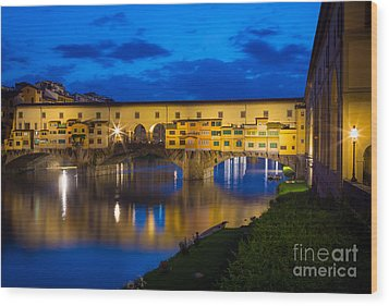 Ponte Vecchio Reflection Wood Print by Inge Johnsson