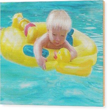 Pool Baby Wood Print by Jane Schnetlage
