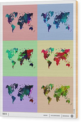 Pop Art World Map Wood Print by Naxart Studio