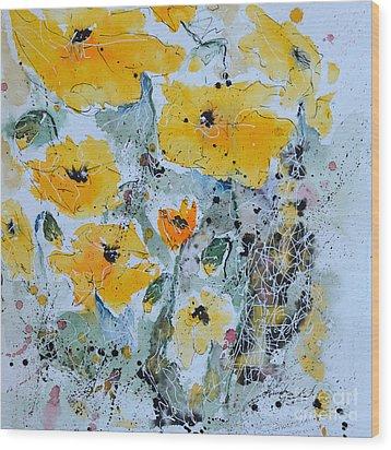 Poppies 02 Wood Print by Ismeta Gruenwald