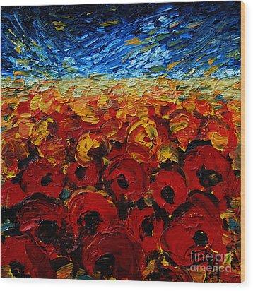Poppies 2 Wood Print by Mona Edulesco