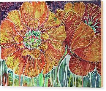 Poppies Batik Abstract Wood Print by Marcia Baldwin