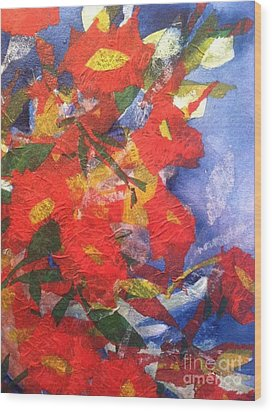 Poppies Gone Wild Wood Print by Sherry Harradence