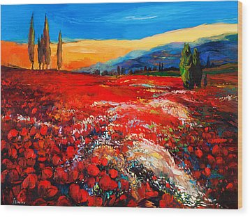 Poppies'field Wood Print by Ivailo Nikolov