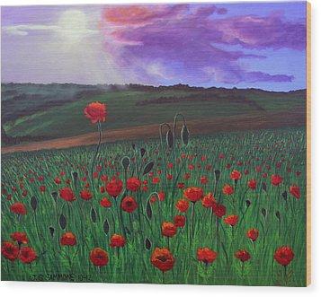 Poppy Field Wood Print by Janet Greer Sammons