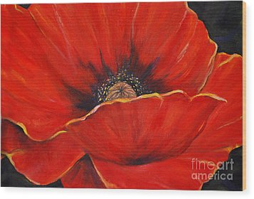 Poppy Wood Print by Nancy Bradley