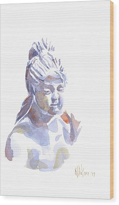 Porcelain Maiden In Watercolor Wood Print by Kip DeVore