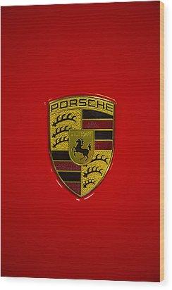 Porsche Emblem Red Hood Wood Print by Garry Gay