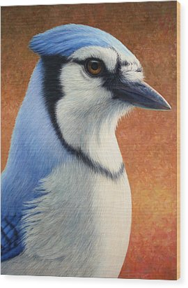 Portrait Of A Bluejay Wood Print by James W Johnson
