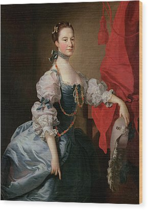 Portrait Of A Lady In A Blue Gown Wood Print by Thomas Hudson