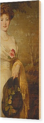 Portrait Of A Lady In A White Dress Wood Print by George Elgar Hicks