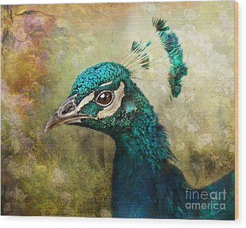 Portrait Of A Peacock Wood Print by Pauline Fowler