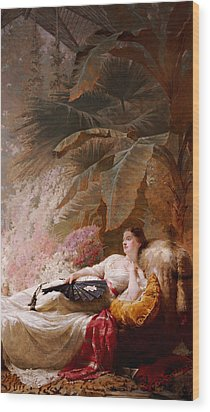 Portrait Of Adelaide Maria Guiness Reclining On A Sofa In A Conservatory Wood Print by George Elgar Hicks