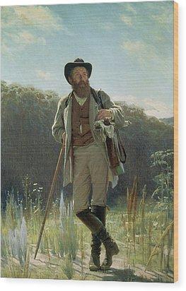 Portrait Of Ivan Ivanovich Shishkin Wood Print by Ivan Nikolaevich Kramskoy