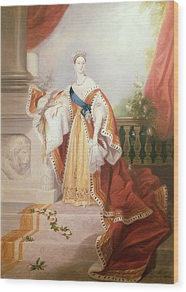 Portrait Of Queen Victoria Wood Print by Alfred-Edward Chalon