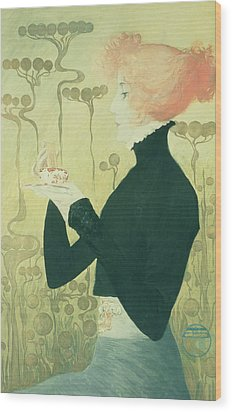 Portrait Of Sarah Bernhardt Wood Print by Manuel Orazi