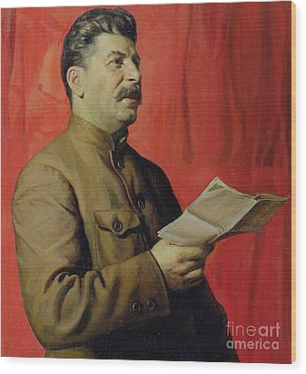Portrait Of Stalin Wood Print by Isaak Israilevich Brodsky
