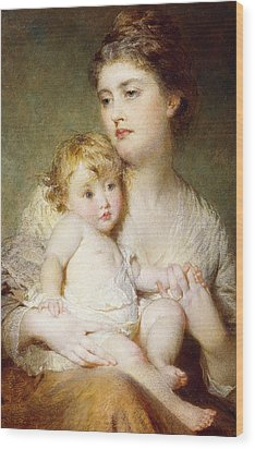 Portrait Of The Duchess Of St Albans With Her Son Wood Print by George Elgar Hicks