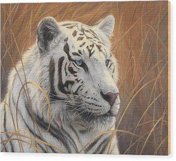 Portrait White Tiger 2 Wood Print by Lucie Bilodeau