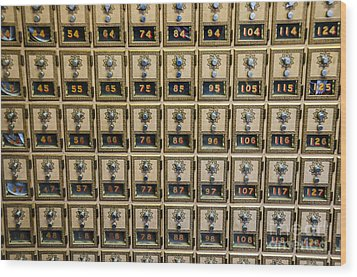 Post Office Combination Lock Boxes Wood Print by Sue Smith