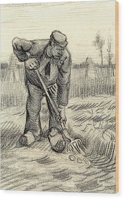 Potato Gatherer Wood Print by Vincent Van Gogh