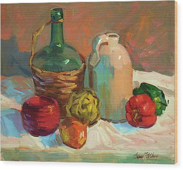 Pottery And Vegetables Wood Print by Diane McClary