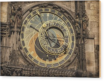 Prague Astronomical Clock Wood Print by Joan Carroll