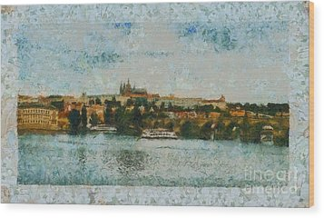 Prague Castle Over The River Wood Print by Dana Hermanova