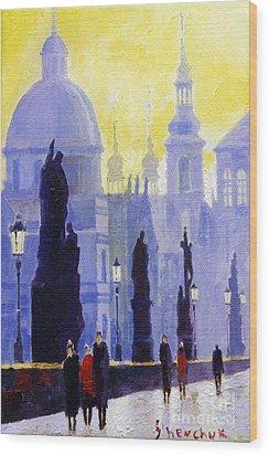 Prague Charles Bridge 03 Wood Print by Yuriy  Shevchuk